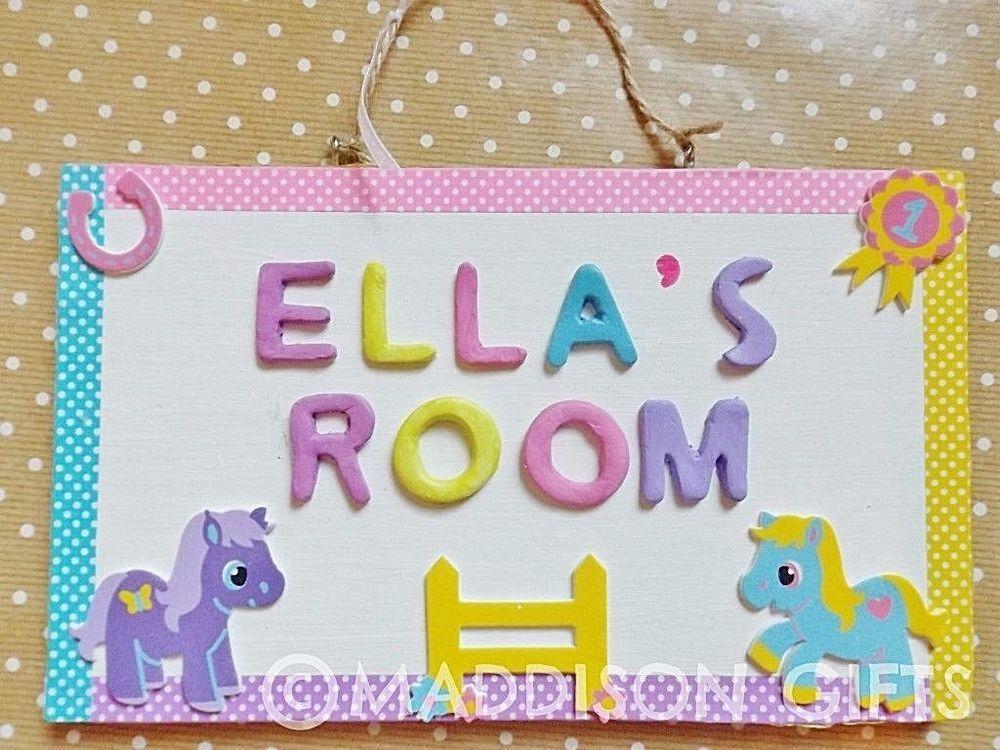 Details About Horse Pony Name Plaque Bedroom Door Sign