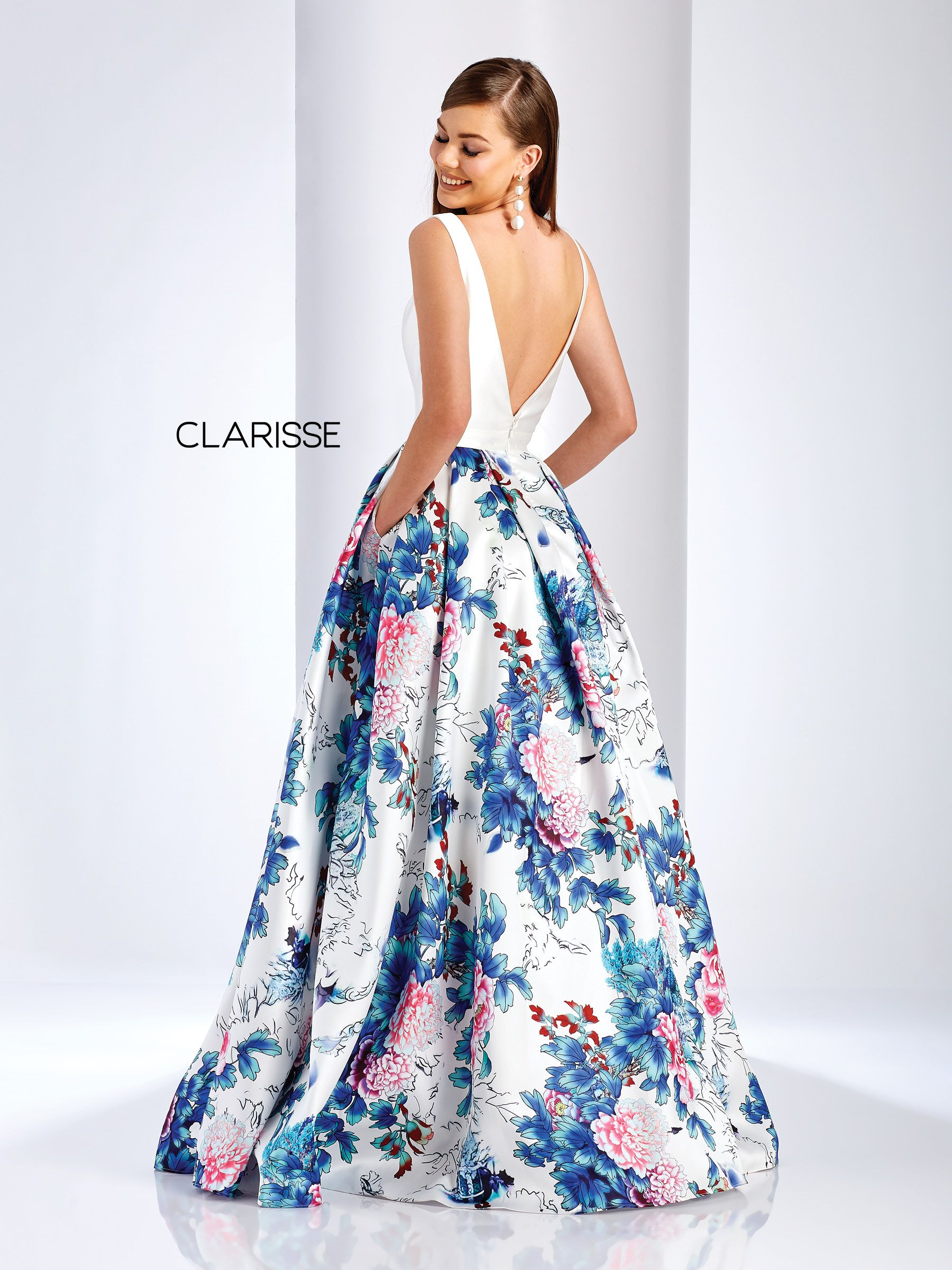 bd67e51a4899 3538 - White and blue floral ball gown with pockets | Clarisse Prom ...