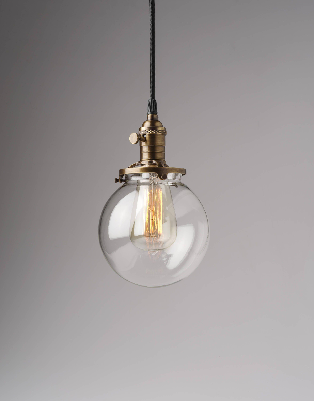 Round Glass Pendant Light Fixture 6 Glass Globe Usa Handblown