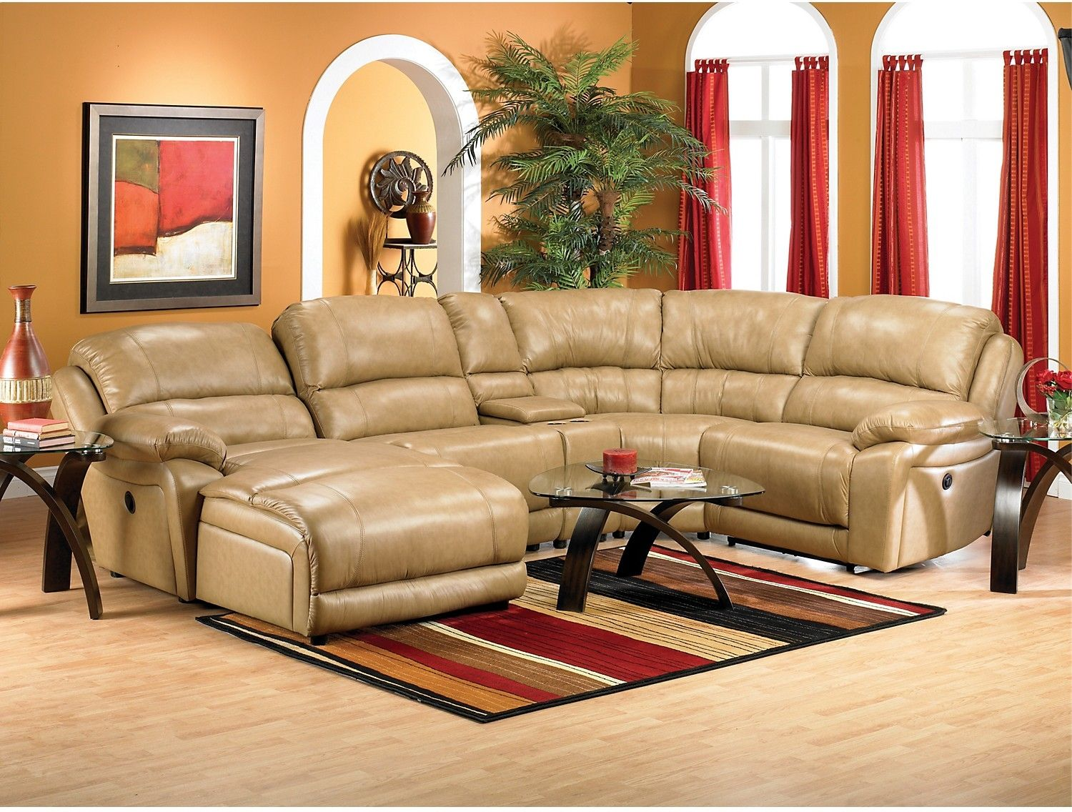 Marco Genuine Leather 5-Piece Sectional with Left-Facing Inclining Chaise u2013 Toffee : marco sectional - Sectionals, Sofas & Couches