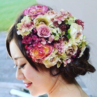 ハンドメイドヘッドドレス  #結婚式#ヘッドドレス#花#創作#お色直し#ハンドメイド#ウェディング#ウェディングフォト #ウェディングドレス #ヘアアクセサリー#headpiece #headdress #wedding#weddingdress #flowers#handmade by mai9117