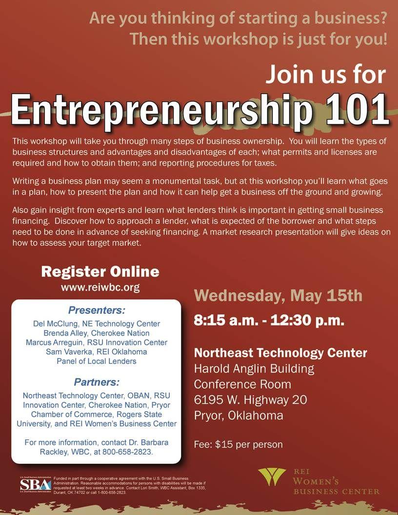 The Entrepreneurship 101 Workshop Is Coming To The Pryor Oklahoma