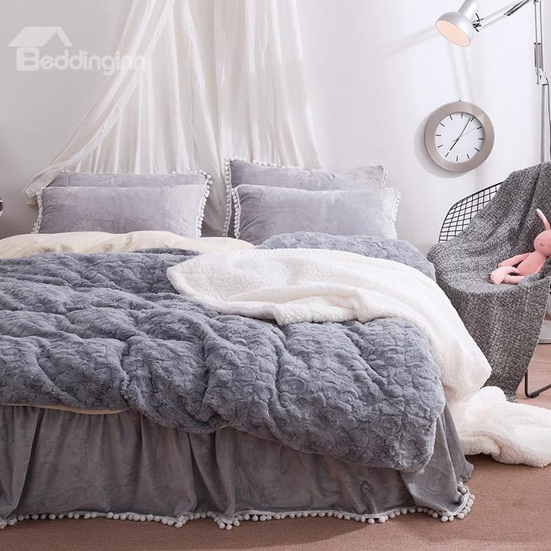 Solid Grey With Decorative Fuzzy Ball Faux Rabbit Fur 4 Piece Fluffy Bedding Sets Fluffy Bedding Bed Linens Luxury Bedding Sets