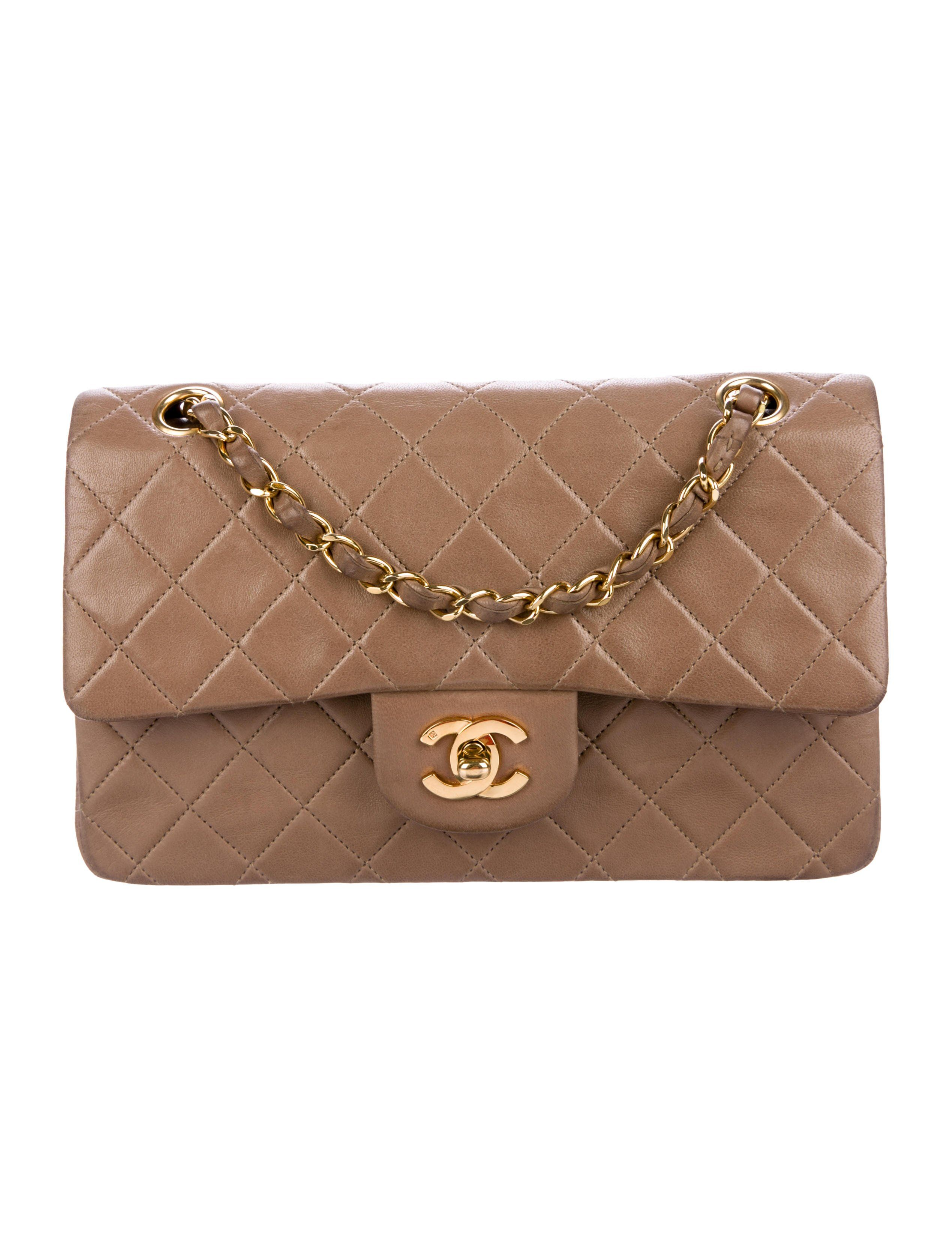 Brown Quilted Lambskin Leather Vintage Chanel Classic Small Double Flap Bag With Gold Tone Hardware Convertible Chain Lin Flap Bag Chanel Handbags Double Flap