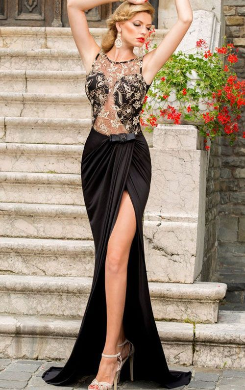 Vestidos de fiesta negro con dorado