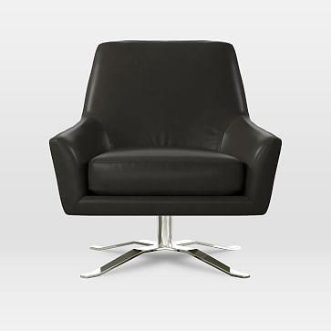 Sensational Lucas Swivel Base Chair Leather Verdant At West Elm Machost Co Dining Chair Design Ideas Machostcouk