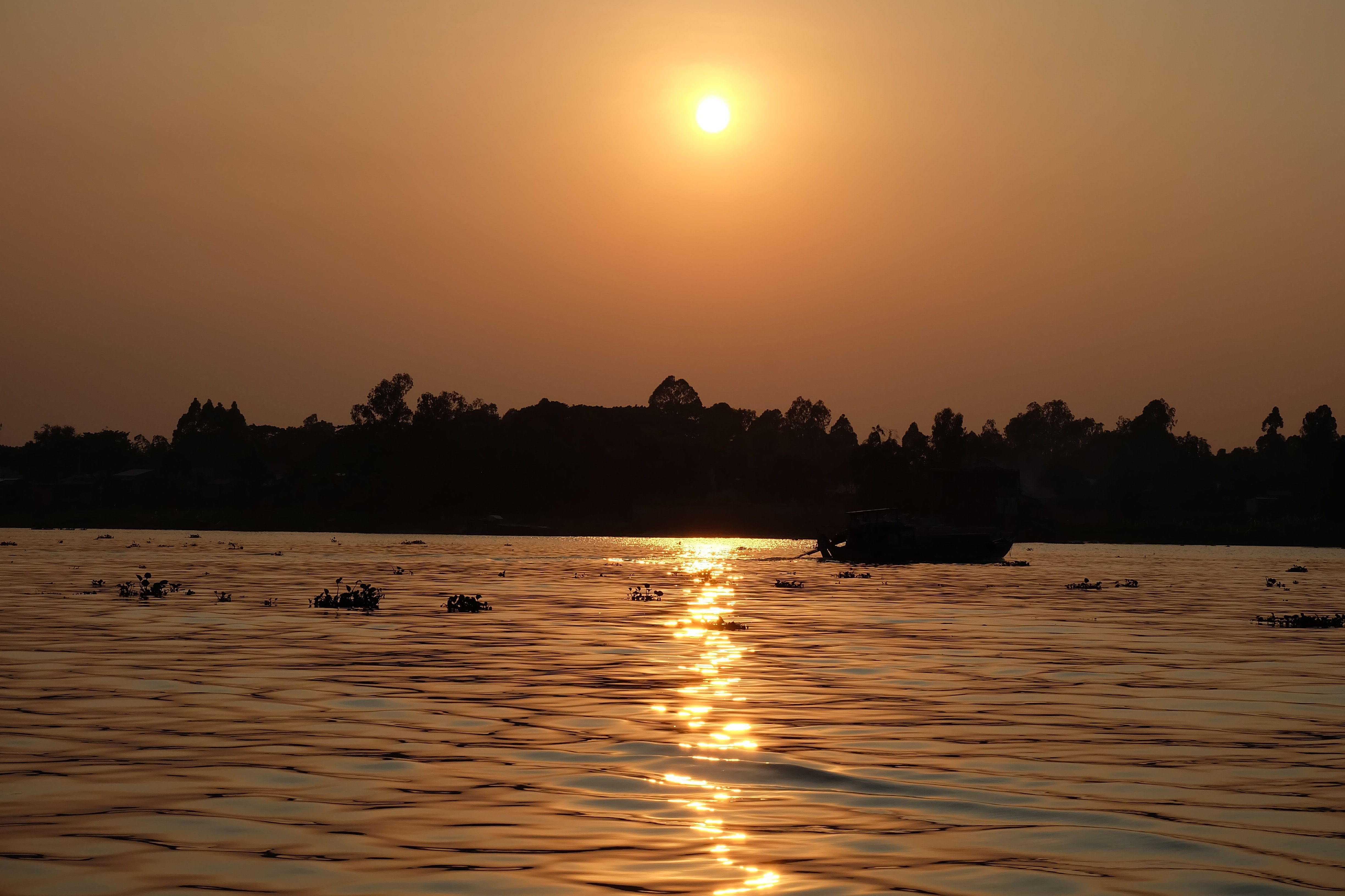 Beautiful sunset in Mekong Delta Vietnam. A mystic and incredible place. Read the whole travel diary on my blog.