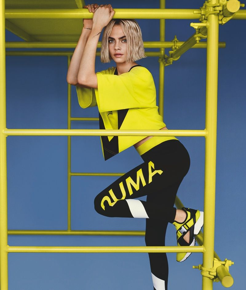 4ae80449111 Cara Delevingne shows off a new look for her latest outing as a PUMA brand  ambassador. The model and actress wears a neon yellow and black ensemble  with the ...