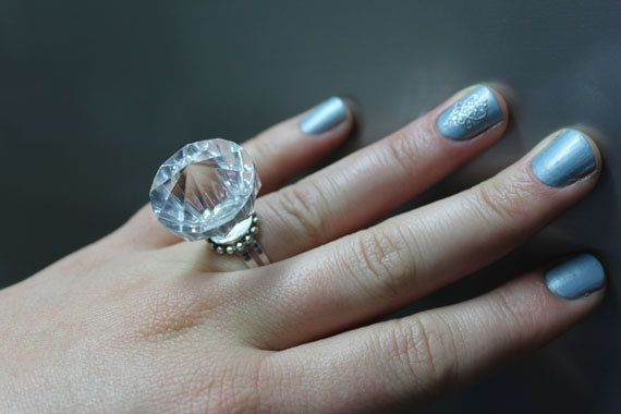Fake Diamond Engagement Ring Plastic Rock Novelty Bachelorette Party