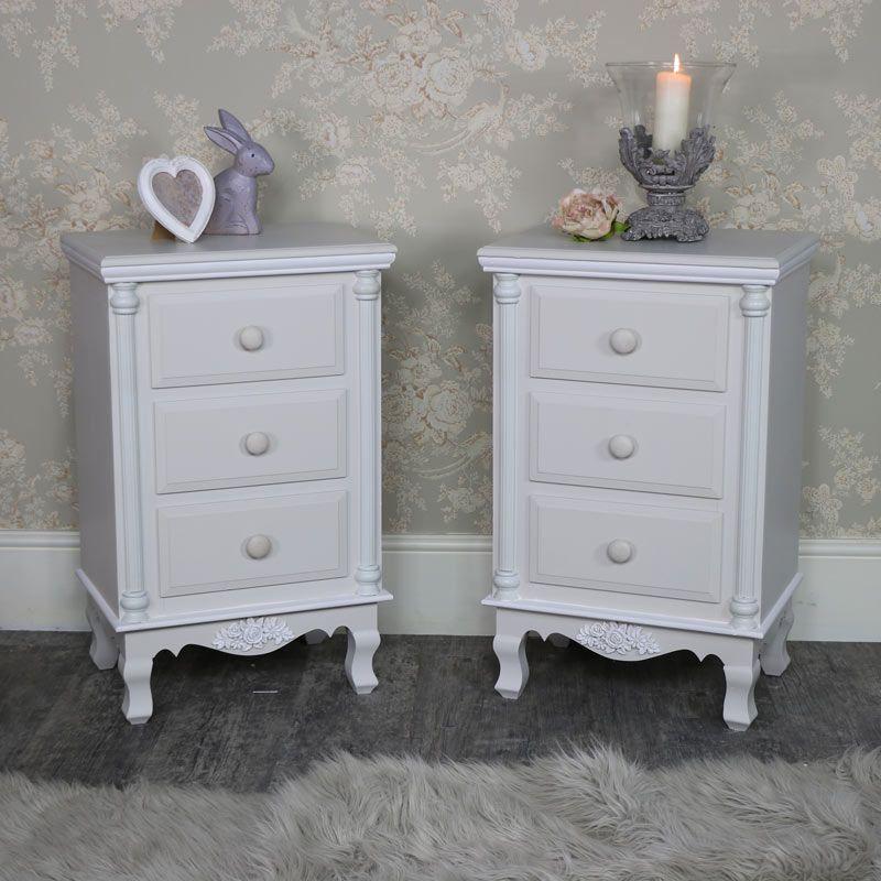 Light Grey Vintage Bedside Table Set Of 2 Claudette Range