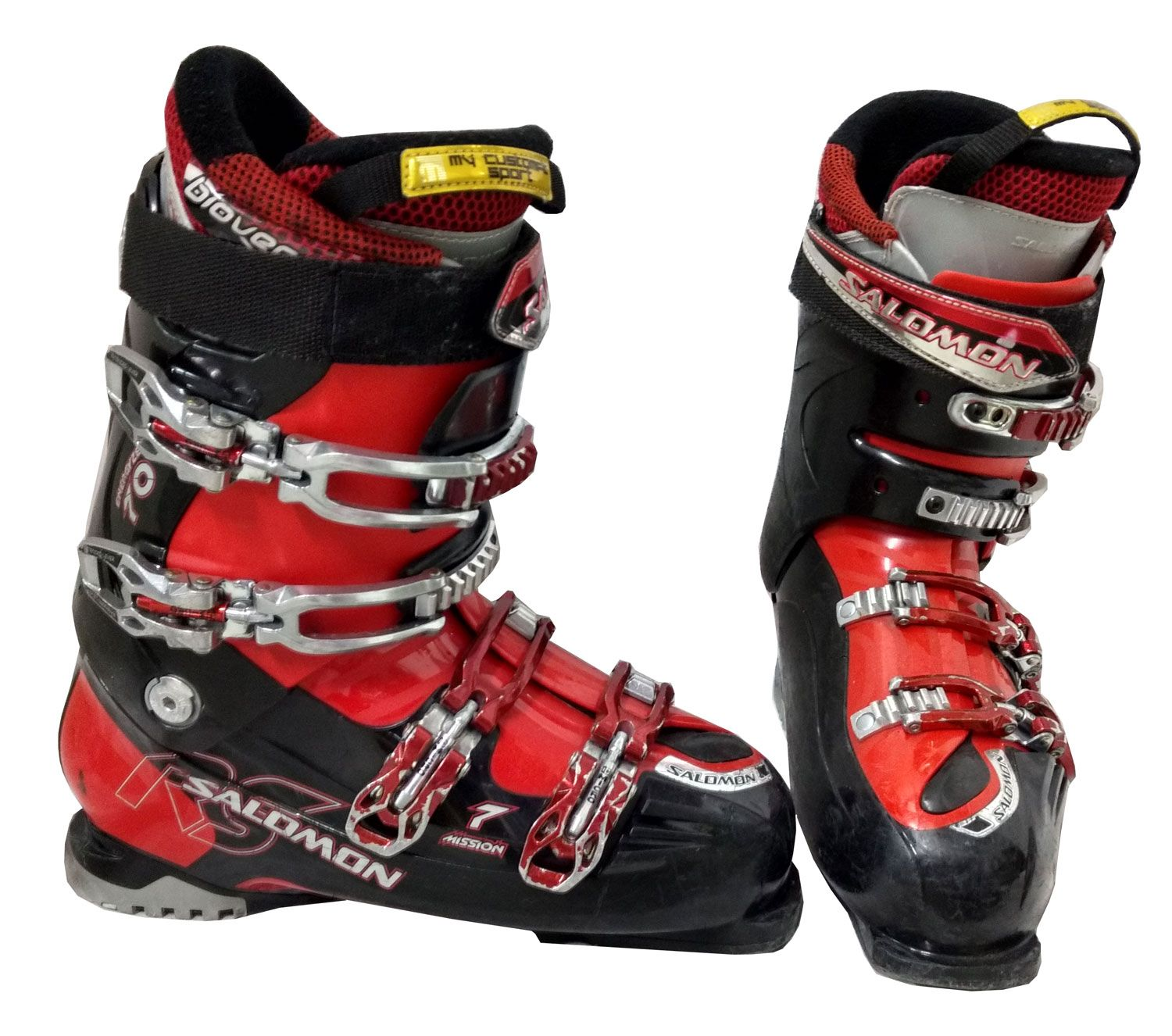 Salomon Mission Rs 7 Ski Boot Red Black Silver Used Ski Boots Boots Skiing