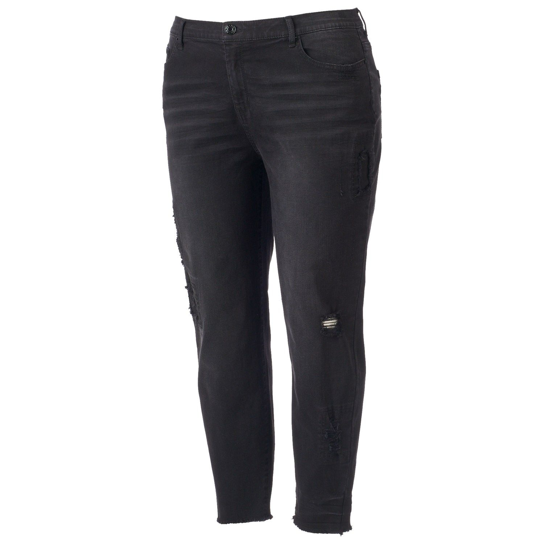 8515576ecaf97 Juniors  Plus Size Mudd® Ripped Black Ankle Skinny Jeans  Mudd ...