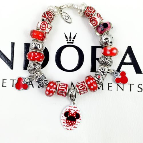 "Pandora Bracelet 7.9"", Disney Minnie Mouse Murano Glass Beads Charms Red White - http://elegant.designerjewelrygalleria.com/pandora/pandora-bracelet-7-9-disney-minnie-mouse-murano-glass-beads-charms-red-white/"