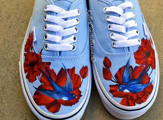 Custom Painted Flower Sparrow Bird Vans Shoes | Chaussures ...