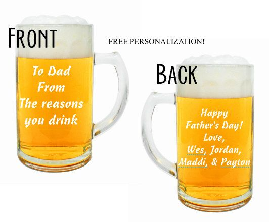 Large Custom Beer Mug Dad Beer Mug Dad Gift Fathers Day