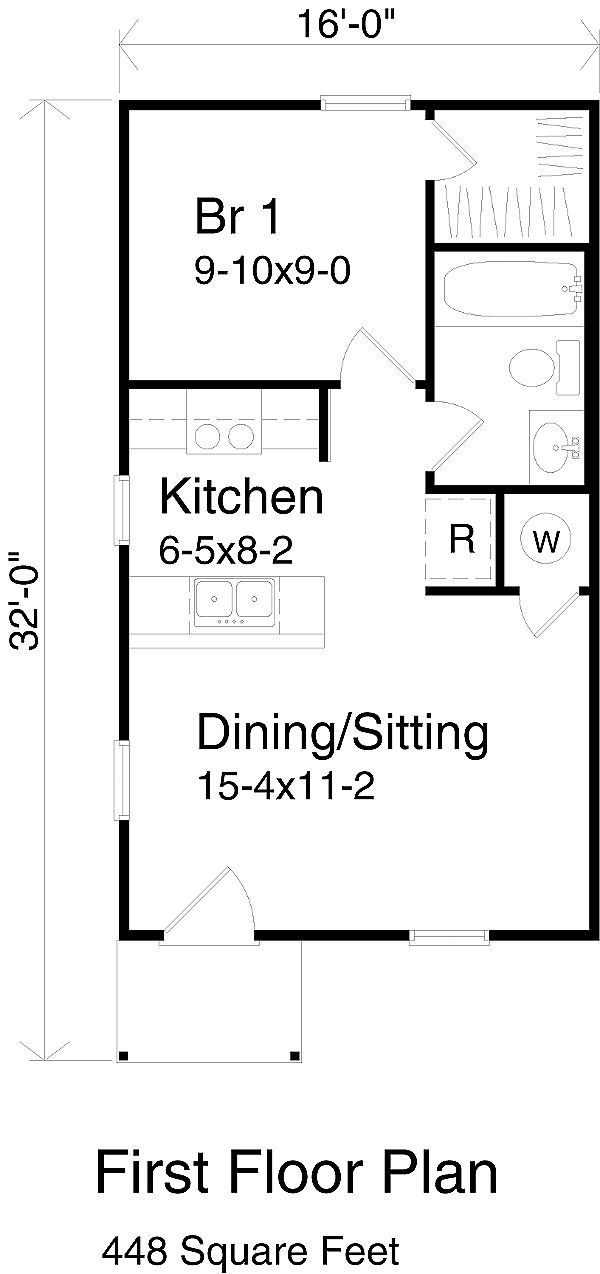 Cottage Style House Plan 1 Beds 1 Baths 448 Sq Ft Plan 22 126 1 Bedroom House Plans Tiny House Floor Plans Cottage Style House Plans