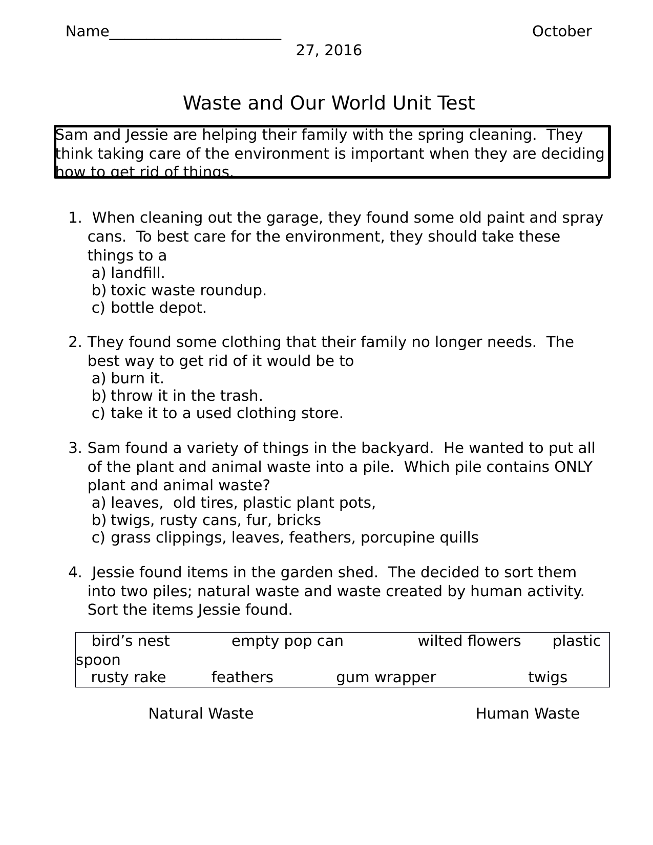 Waste And Our World Unit Test Resource Preview