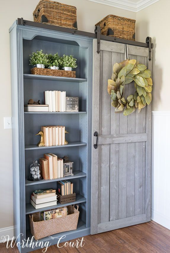 Farmhouse style bookcases with a diy sliding door || Worthing Court #homedecorideas
