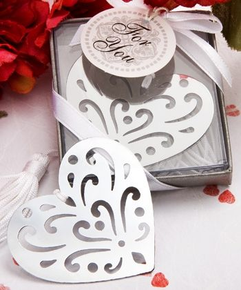 """""""Book Lovers"""" Heart Bookmark Favors"""