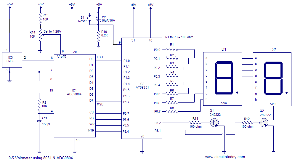 Thermometer Using 8051 Analog To Digital Converter Circuit Diagram Microcontrollers
