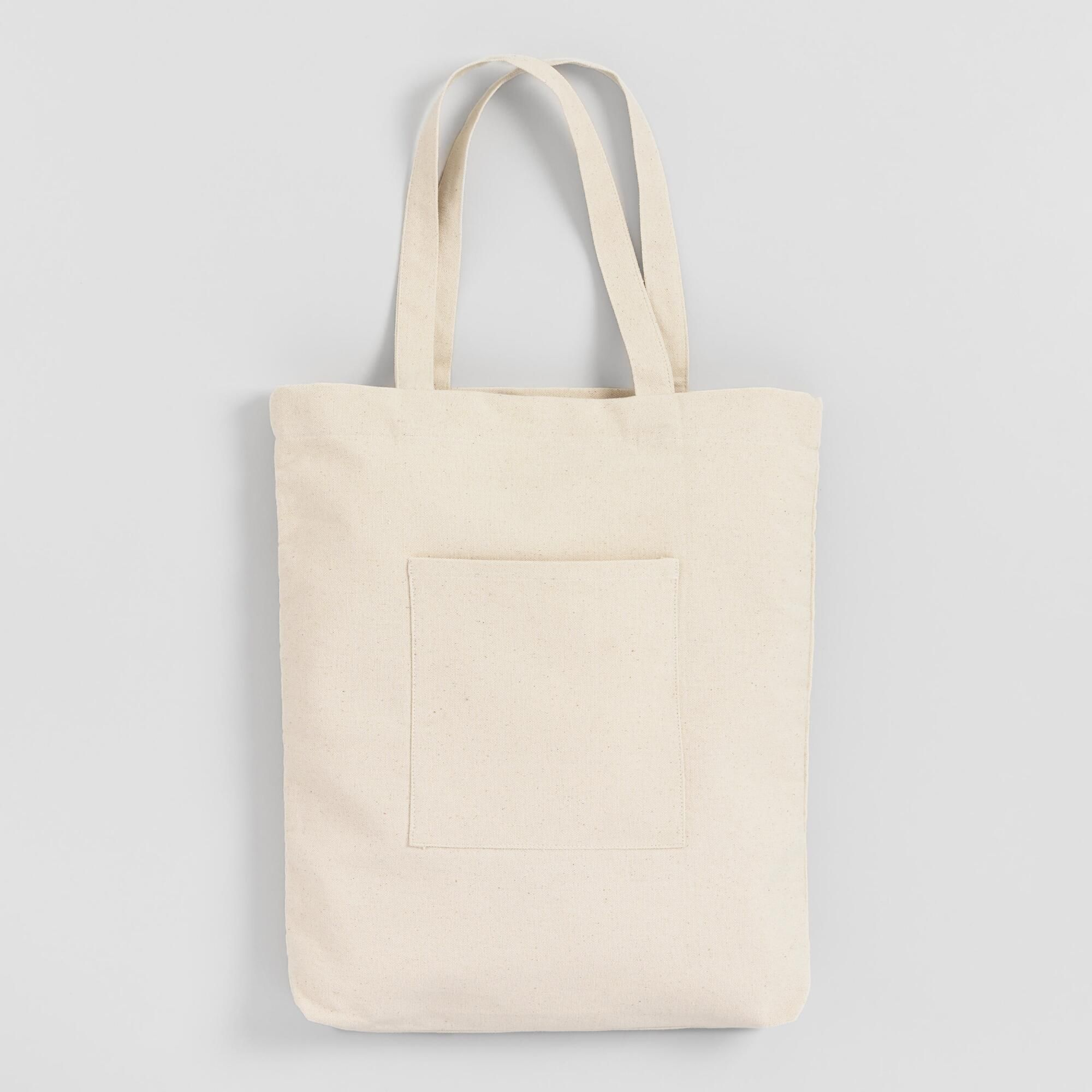 2f4bf86ef5 White Canvas Tote Bag with Pocket by World Market