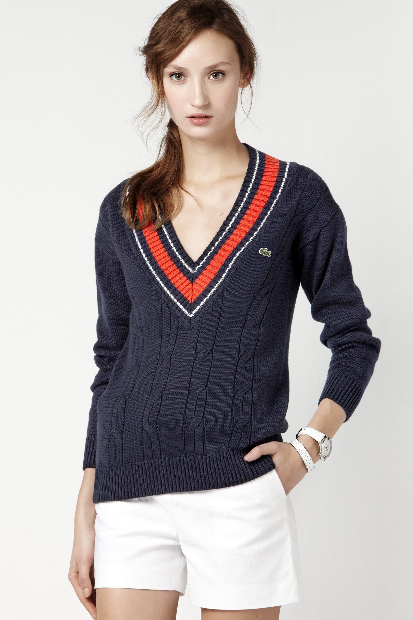 Lacoste Long Sleeve Cotton Cable Knit Tipped V-neck Sweater : Sweaters