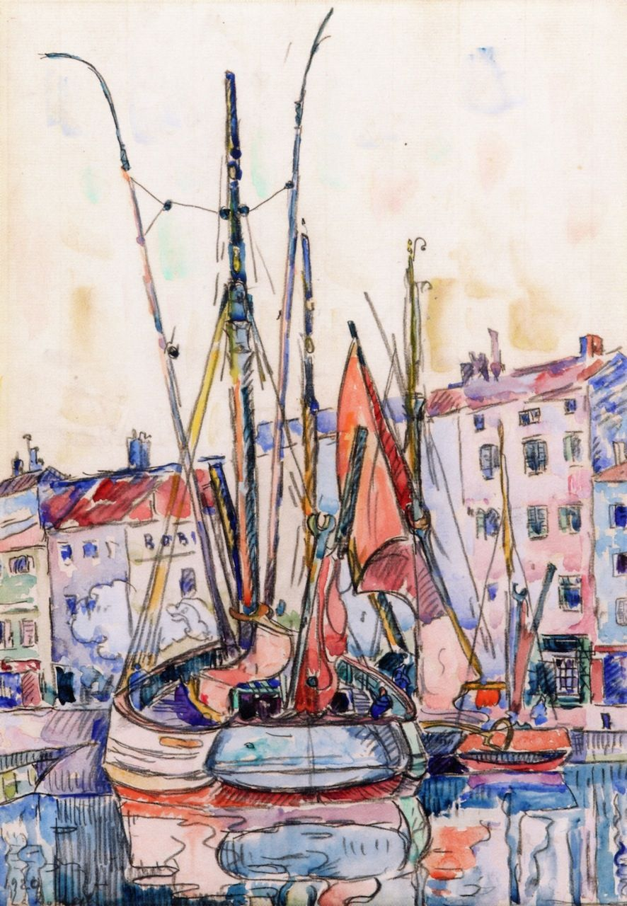 Watercolors Sailing Signac Art Painting La Rochelle