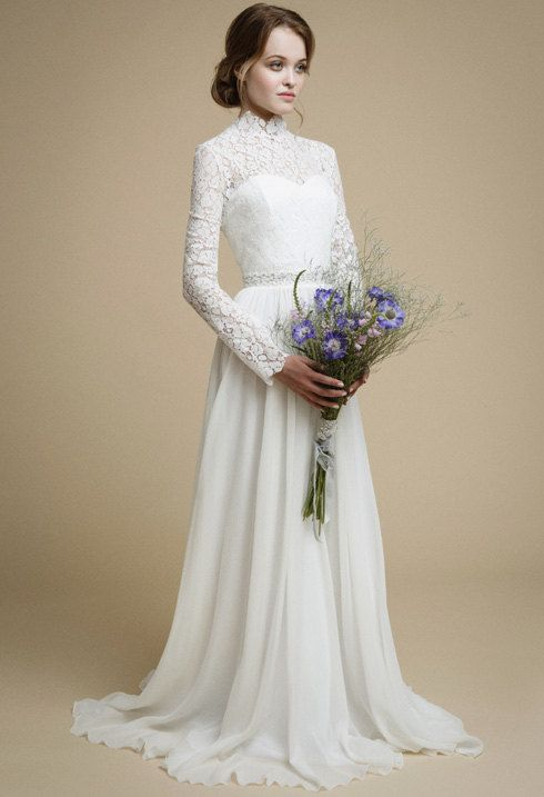 95d247b515a NESSA   long sleeve lace wedding dress Bohemian bridal gown Rustic wedding  dress Lace top modest dress Corset wedding dress by VICTORIASPIRINA to Etsy