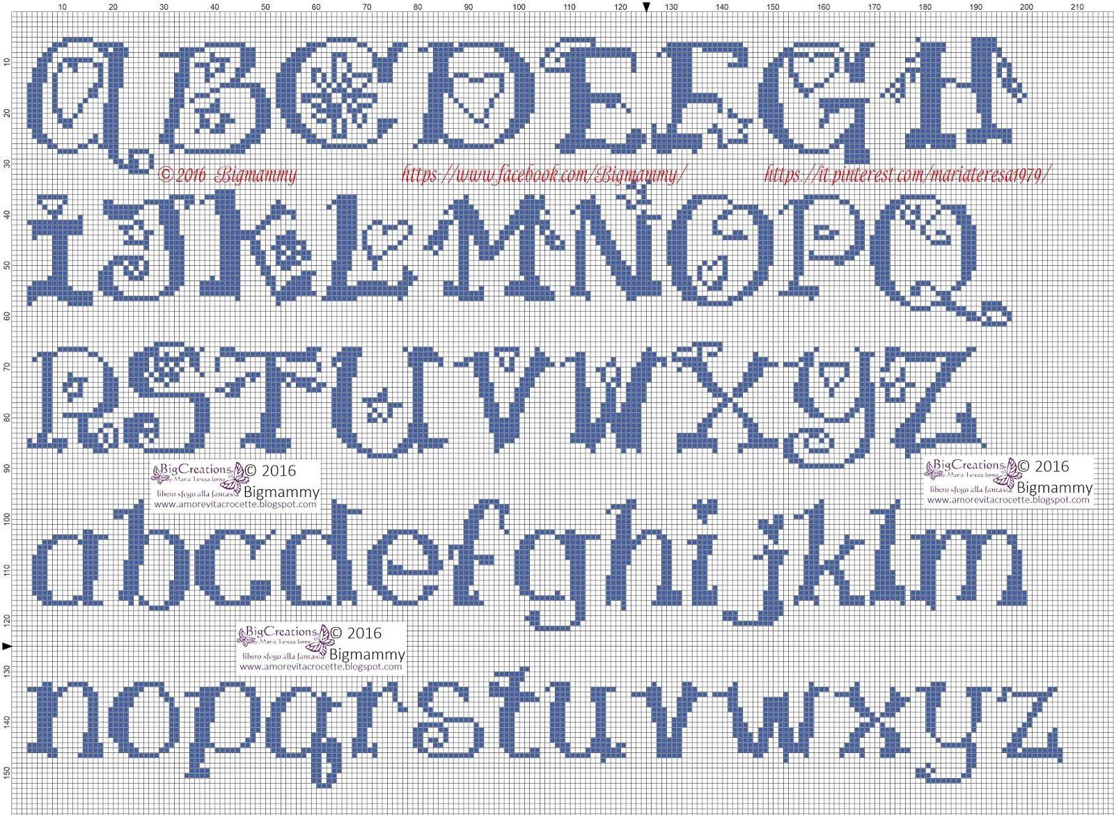 Amorevitacrocette ancora tanti alfabeti a punto croce for Ricamo punto croce lettere