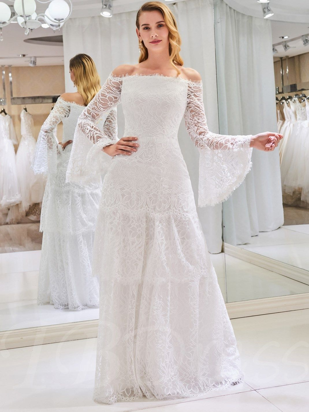 Off the shoulder lace wedding dress with long sleeve in