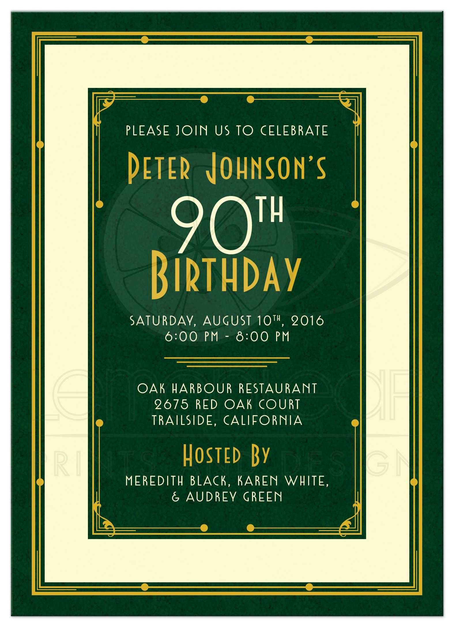 Man\'s 90th Birthday Invitation | Art Deco Forest Green Gold ...