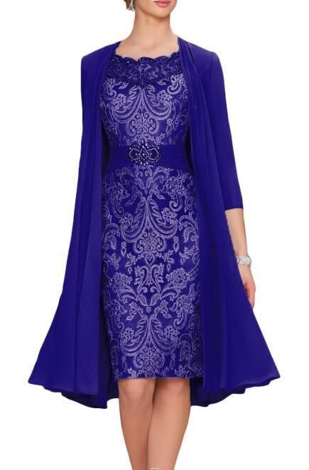70b5510ad74 2PCS Purple Lace Mother of the Bride Dress with Belt Size10 Knee Length In  Stock (eBay Link)