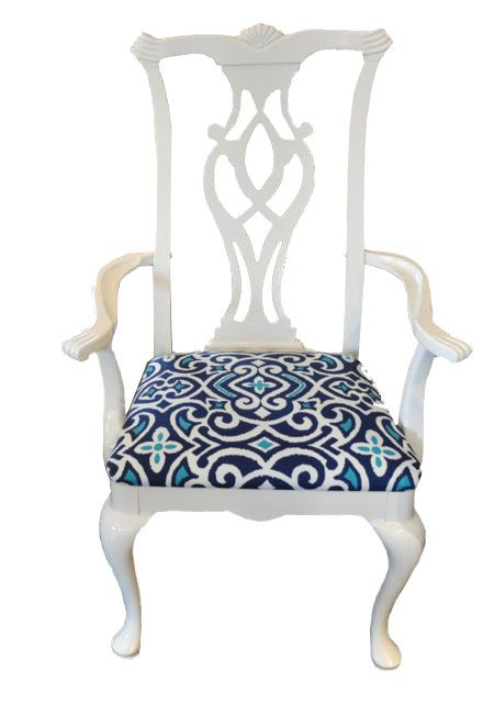 White Chippendale Arm Chair Just In. Vintage Mid Century Modern, White  Lacquered Chair