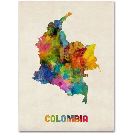Trademark fine art colombia watercolor map canvas art by michael trademark fine art colombia watercolor map canvas art by michael tompsett size 18 x 24 multicolor gumiabroncs Gallery