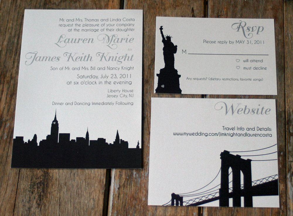 Modern Wedding Invitation : Skyline Wedding Invitation NYC, Chicago ...