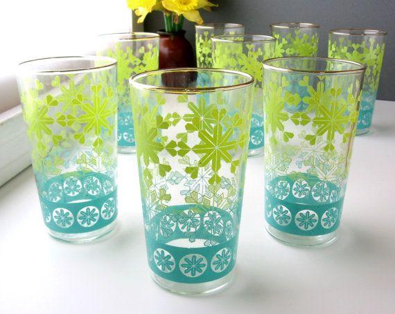 70s Vintage Anchor Hocking Soreno Avocado Green Tumblers Highball Glasses Green Glassware Green Glass Vintage Glassware