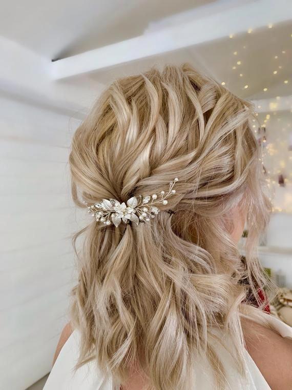 Bridal floral hair piece  Bridal silver hair pin  Wedding hair | Etsy
