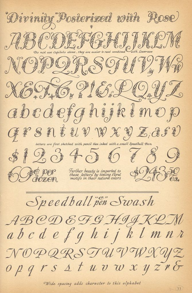 Divinity Posterized With Rose Speedball Swash Vintage Script Alphabets Letting 1957 Ross F George