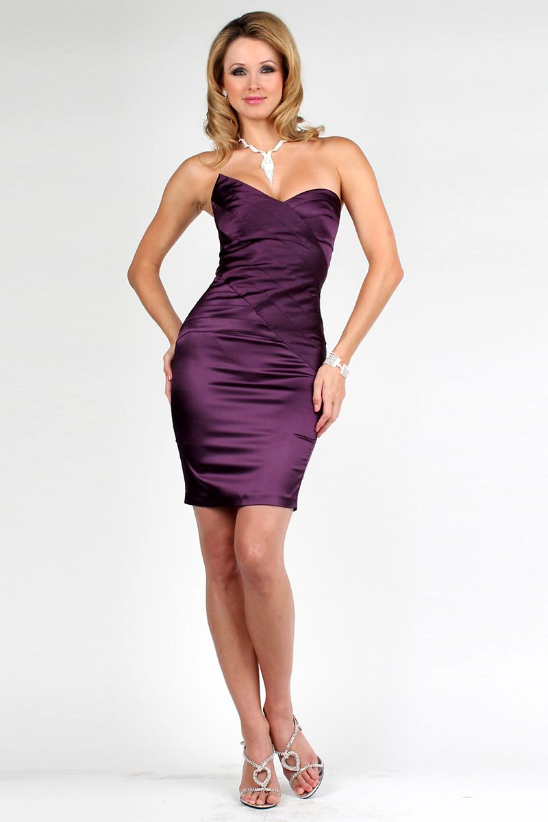 Sweetheart-Satin-Zipper-Wrap-Dark-Purple-Cocktail-Dress- | Purple ...