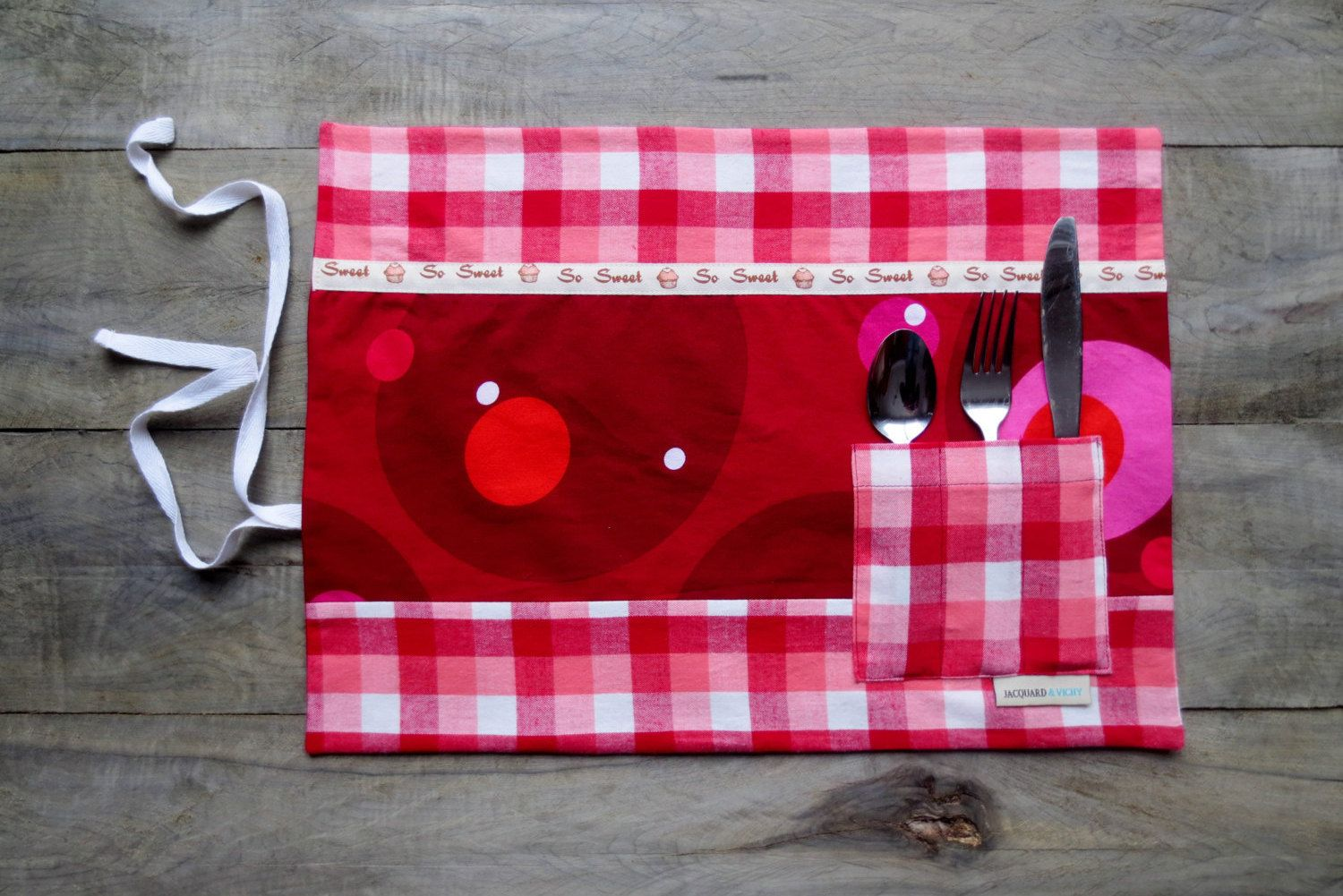 place mat with pocket placemat for lunch or picnic made. Black Bedroom Furniture Sets. Home Design Ideas