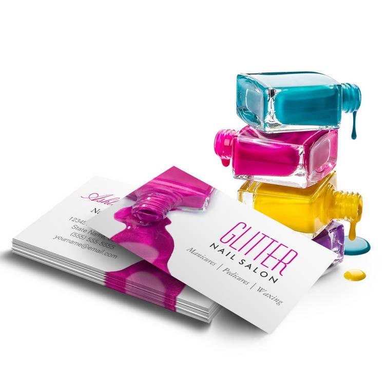 Glitter Nail Salon Manicure - Pink Beauty Stylish Business Card ...