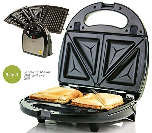 3b6b59bd3 Ovente Electric Sandwich Maker with Non-Stick Detachable Plates 750-Watts  Waffle and Grill Plates Included LED Indicator Lights Cool Touch Handle Anti-Skid  ...