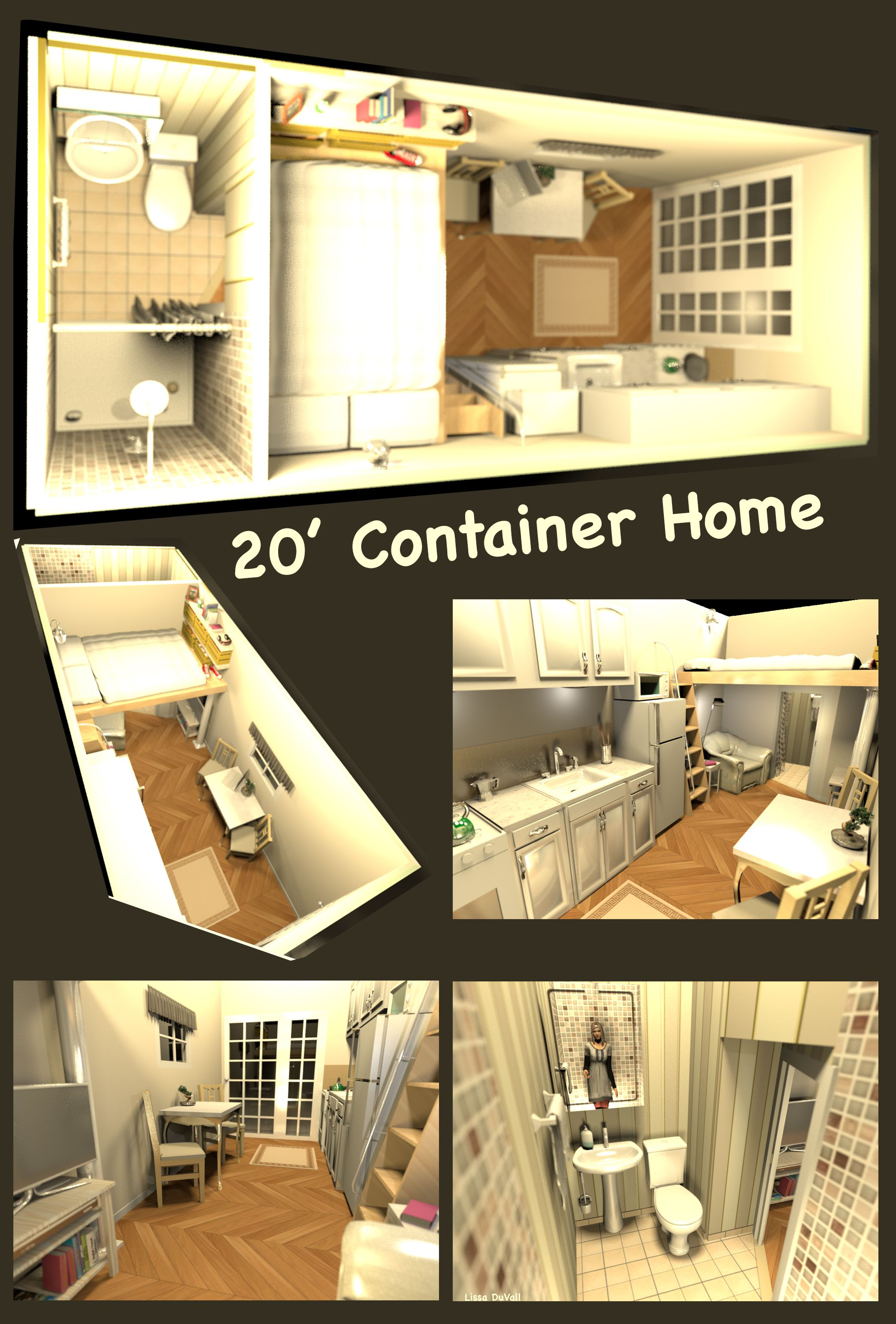 20 X8 Container Home Full Size Bed A Very Space Efficient Floor Plan For A Container Home C Container House Container House Design Container House Interior