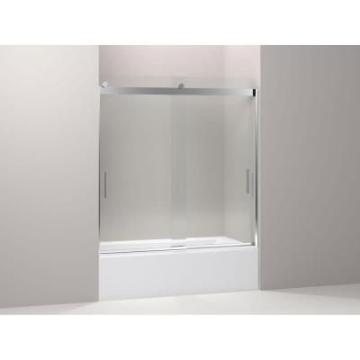 Levity 59-5/8 in. W x 62 in. H Frameless Bypass Shower Door with Handle in Silver