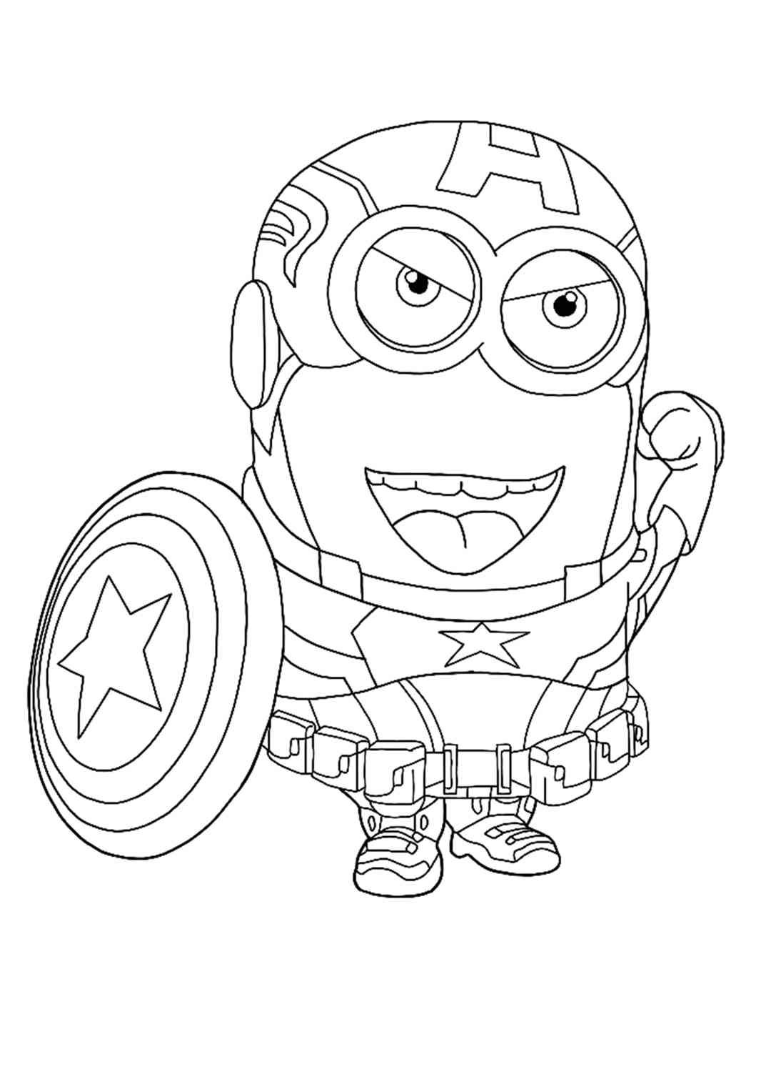 Minion Captain America Coloring Page Minion Coloring Pages Avengers Coloring Pages Superhero Coloring Pages