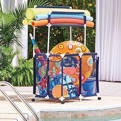 Pool Toy Storage Cart Rolling Noodle Raft Holder Organizer Swim Outdoor Mesh Pool Toy Storage Pool Toys Pool Storage