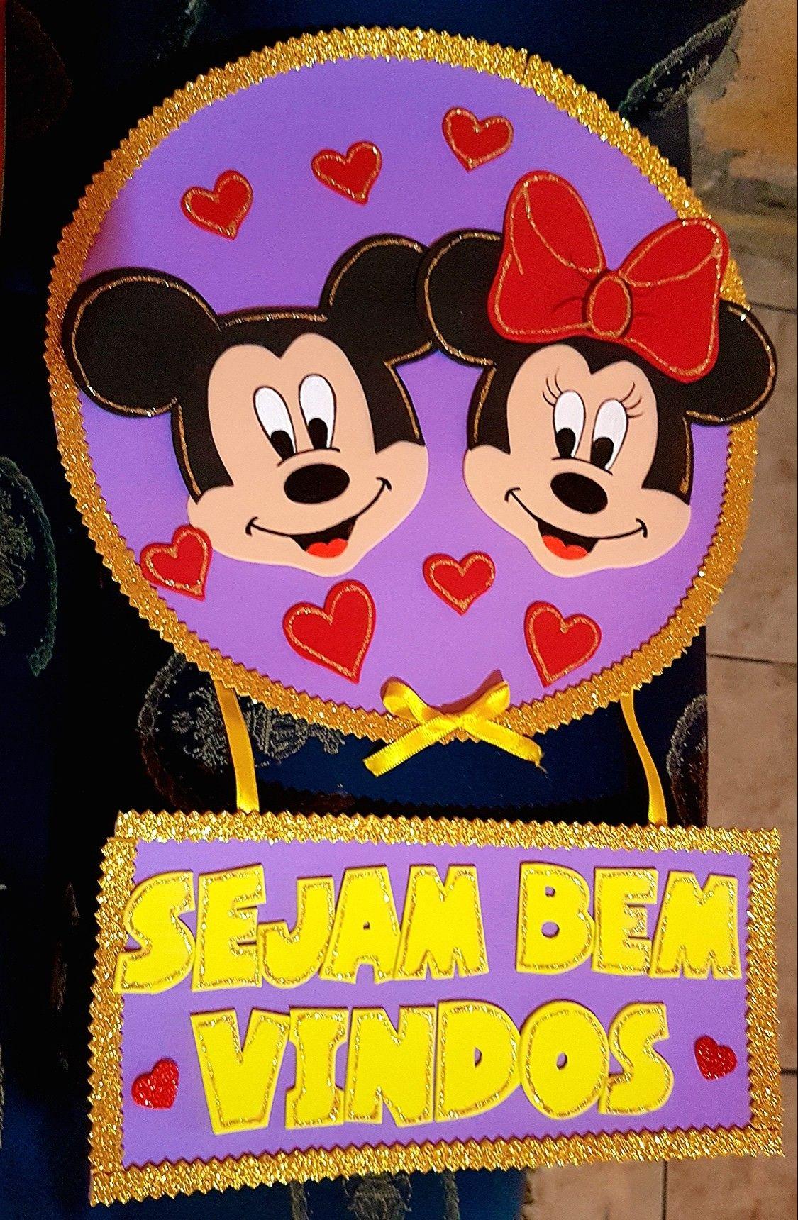 Enfeite De Porta Para Sala De Aula Sejam Bem Vindos Mickey E