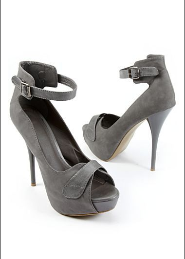 """Peep Toe Ankle Strap Heel $34       Fall head over heels with a hot look that's sure to complement any outfit.  ·    Side buckle      ·    5"""" heel with 1 1/2"""" platform      ·    Full and half sizes 6-9, 10      ·    Polyurethane"""