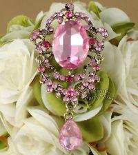 1 X Rose Pink Rhinestone Crystal Diamante Lady Fashion Brooch Pin Charm Pendant