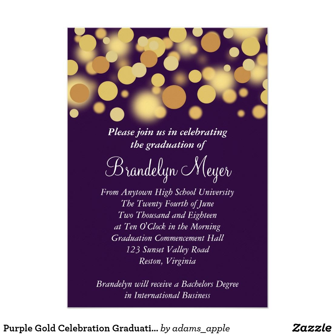 Purple Gold Celebration Graduation Announcement